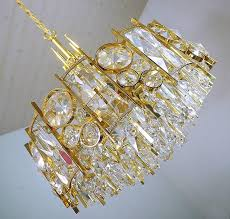 gold plated brass and crystal chandelier designed in the 1960s by palwa germany