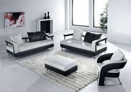 living room stunning black white modern leather sofa living room decor with rectangle white fluffy