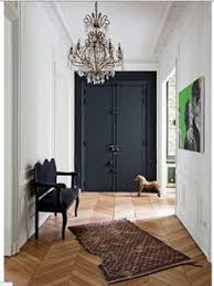 dramatic sliding doors separate. A Surefire Way To Create Dramatic Entryway? Black Double Doors With Lush Velvet Bench, Bright Pop Art On The Walls, Classic Crystal Chandelier Sliding Separate