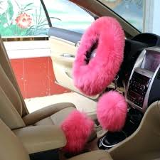fuzzy car seat covers set charm pink warm long wool plush steering wheel cover for car handbrake accessory black fuzzy car seat covers