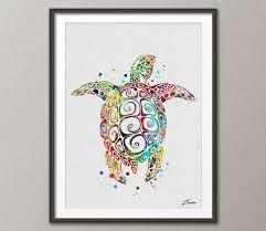 Sea Turtle Bathroom Accessories Sea Turtle Poster Sea Turtle Print Watercolor Poster Green