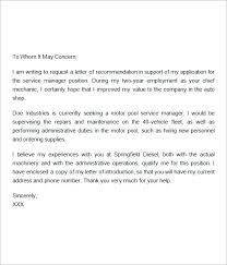 Letter Of Recommendation Mechanic Free 8 Recommendation Letters In Doc