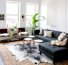 ... Unusual Ideas Cowhide Rug Decorating Ideas 3 Gray Sofa With Modern  Coffee Tables Rug And Indoor ...