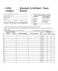 Free Baseball Team Roster Template Teran Co