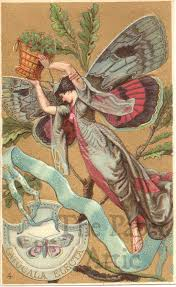 Butterfly Woman Fairy Antique Vintage French Embossed Chromo Trade Card