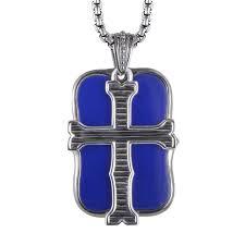 stephen webster london calling mens sterling silver lapis dog tag cross pendant necklace