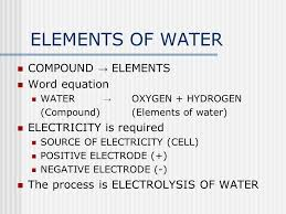 elements of water compound elements word equation