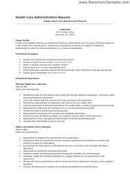 Exchange Administration Sample Resume Hospital Administrator Cover