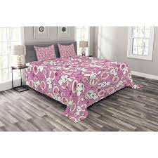 Pink plaid bedding set cute kawaii bed linen duvet cover bed sheet bed sets. Anime Bedspread Set Funny Kawaii Illustration With Rabbits Funky Cute Animals Bunnies Kids Humor Print Decorative Quilted Coverlet Set With Pillow Shams Included White Pink By Ambesonne Walmart Com Walmart Com