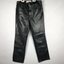 details about gap womens genuine leather biker pants boot cut lined black 4 pocket style sz 4