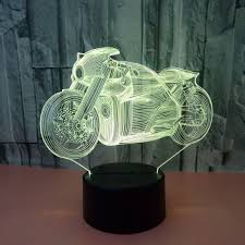 motorcycle 3d led night lights baby bedroom lamp 7 colors change usb desk table lamp decoration night light changeable clear 3w free