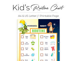 Editable Bedtime Routine Chart Chore Chart Templates Kid Morning Bedtime Routines