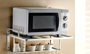 wall mounted microwave shelves stainless 2 tier wall hanging microwave oven rack stand shelf kitchen storage