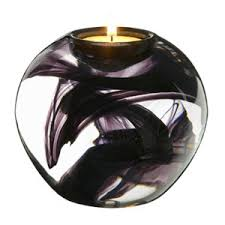 Heal's | Cool Moons Purple Tealight Holder By Kosta Boda > Candle Holders >  Candles &