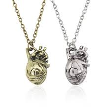 whole hot vintage healthy heart pendant necklace hollow design human organ pendants necklaces men and women sweater chain necklaces whole birthstone