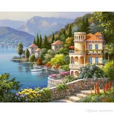 2018 decoratiive art sung kim lakeside villa modern terranean arch paintings for wall decor hand painted from cherry02016 126 64 dhgate com