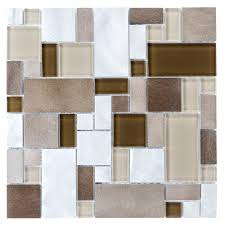 allen roth metal elements cubes mosaic glasetal wall tile common 12