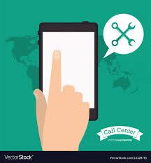 Smartphone Call Center Application World Vector Image
