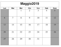 Maggio 2019 Gratuito Calendario