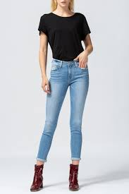 Flying Monkey Laguna Mid Rise Rolled Up Crop Skinny Jeans