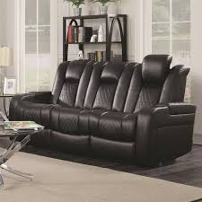 Delangelo Theater Power Leather Reclining Sofa With Cup Holders Storage  Console And USB Port Recliner Cup Holder Storage O28