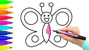 Simple Example How To Draw Butterfly Coloring Book With Colored