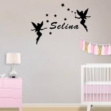 two fairies around kids name personalized wall stickers stars decor decals for girls room wall stickers vinyl wall stickers wall graphics from flylife