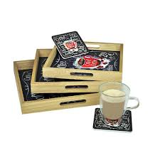 3 square serving trays set of 6 coasters with holder wooden coffee cup black beige
