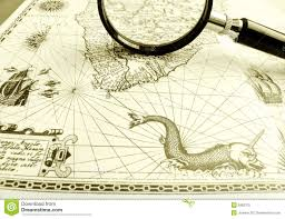 Old Ancient Sea Chart Magnifier Stock Photo Image Of