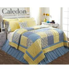Blue Quilts Bedding Delectably Yours Caledon Blue Yellow Patchwork ... & Blue Quilts Bedding Delectably Yours Caledon Blue Yellow Patchwork Quilt  Bedding From Victorian Heart Ashton Willow Adamdwight.com