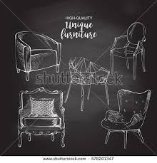 fancy couch drawing. set of hand drawn polygonal furniture and interior detail chairs sofa round coffee table sketch chalk fancy couch drawing