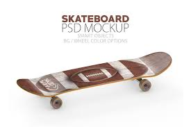 A collection of three mockups showing a skateboard from various perspectives. 15 Beautiful Skateboard Mockup Psd Templates Mockuptree