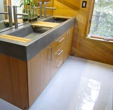 Cement Over Tile Countertops Bamboo Vanity With Concrete Troff Ie Trough Sink And Bamboo