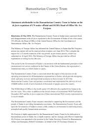 statement attributable to the humanitarian country team in sudan  statement attributable to the humanitarian country team in sudan on the de facto expulsion of un senior official and ocha head of office mr ivo freijsen