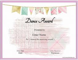 Dance Award Certificate Dance Certificate Template With A Pink Banenr And A Pink
