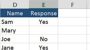 the percene of yes no responses in excel