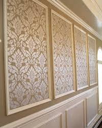 Black walls with bright white picture frame molding looks fierce and modage, a term for a mix of modern and vintage. Classic Damask Stencil Dining Room Makeover Damask Stencil Damask Wall