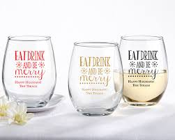eat drink be merry personalized 9 oz stemless wine glass