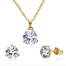 simple stainless steel gold jewelry sets for women rhinestone crystal wedding necklace earring set for las