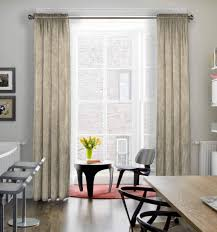 Nice Modern Dining Room With Off White Curtains In A Subtle Pattern, Framing A  Tall
