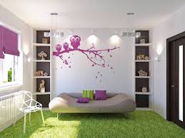 bedroom purple owl wall art on white wall added by brown leather sofa bed on