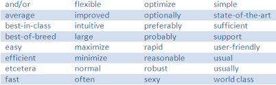 buzzword bingo generator software requirements and the use of weasel words