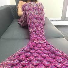 Mermaid Blanket Crochet Pattern Extraordinary 4848cm Adult Handmade Knitted Mermaid Blanket Crochet Tassel