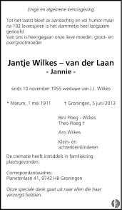 Jantje (Jannie) Wilkes - van der Laan ✝ 05-06-2013 ...