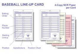 Baseball Lineup And Position Chart Glover Line Up Cards