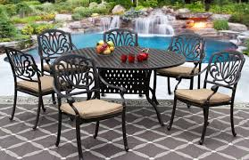 60 inch round dining table set. ELISABETH CAST ALUMINUM OUTDOOR PATIO 7PC SET 60 Inch ROUND DINING TABLE Series 3000 WITH Sunbrella SESAME LINEN CUSHION Round Dining Table Set