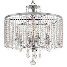 6 light polished chrome chandelier with k9 crystal dangles