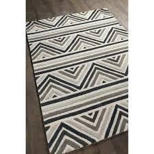 loom hand tufted contemporary chevron pattern grey white wool rug crochet