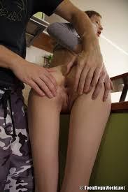 Teen Shaved Skinny Brunette Kitana A in Kitchen Enjoying Anal.
