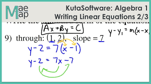 kuta algebra 1 writing linear equations part 2